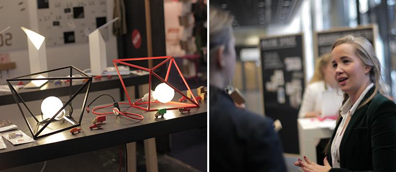 Trendwatcherin Stefanie van Verkenn spricht über geometrisches Design (Lampen) auf der Trend Tour der Ambiente Messe Frankfurt.
