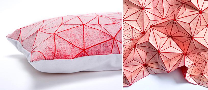 Kissen in geometrischem Design auf der Trendwatchertour auf der Ambiente Messe in Frankfurt.