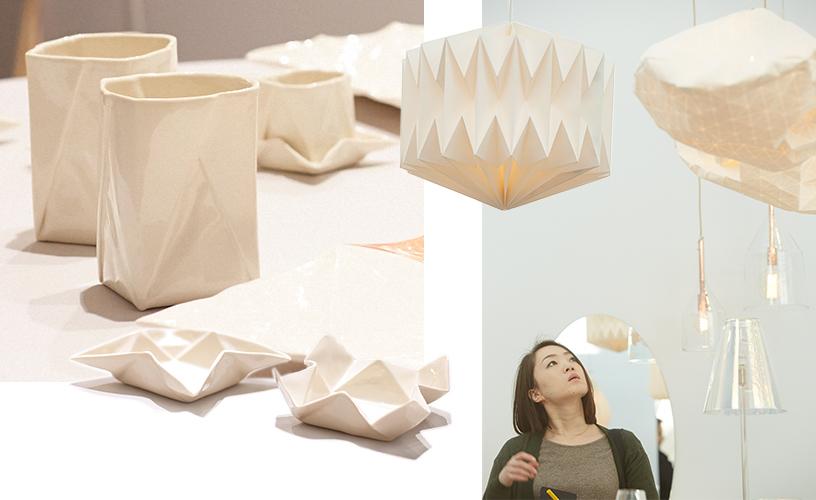 Origami-Stil-Weisston-Schalen-Deckenleuchten-Weiss