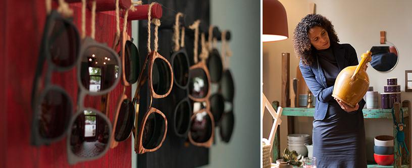 Sonnenbrille Holz bunt Geschirr
