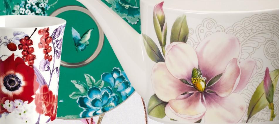 Blueten-Design-Sommer-Geschirr-Textilien