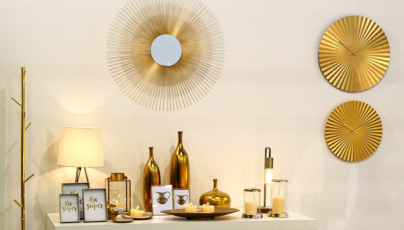 Living-Spiegel-Uhr-Vase