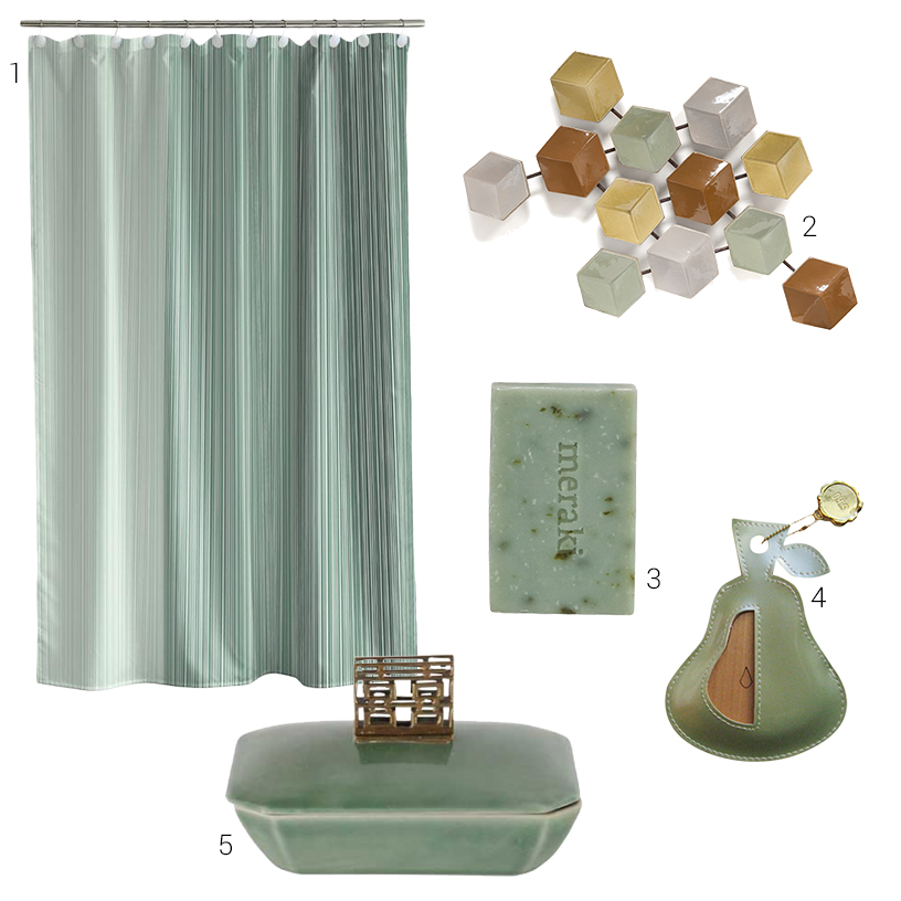 Collage of sage-colored products for the bathroom from the Ambiente fair