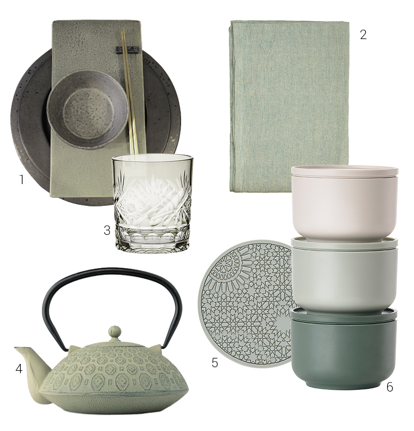 Collage of sage-colored design tableware from the Ambiente fair