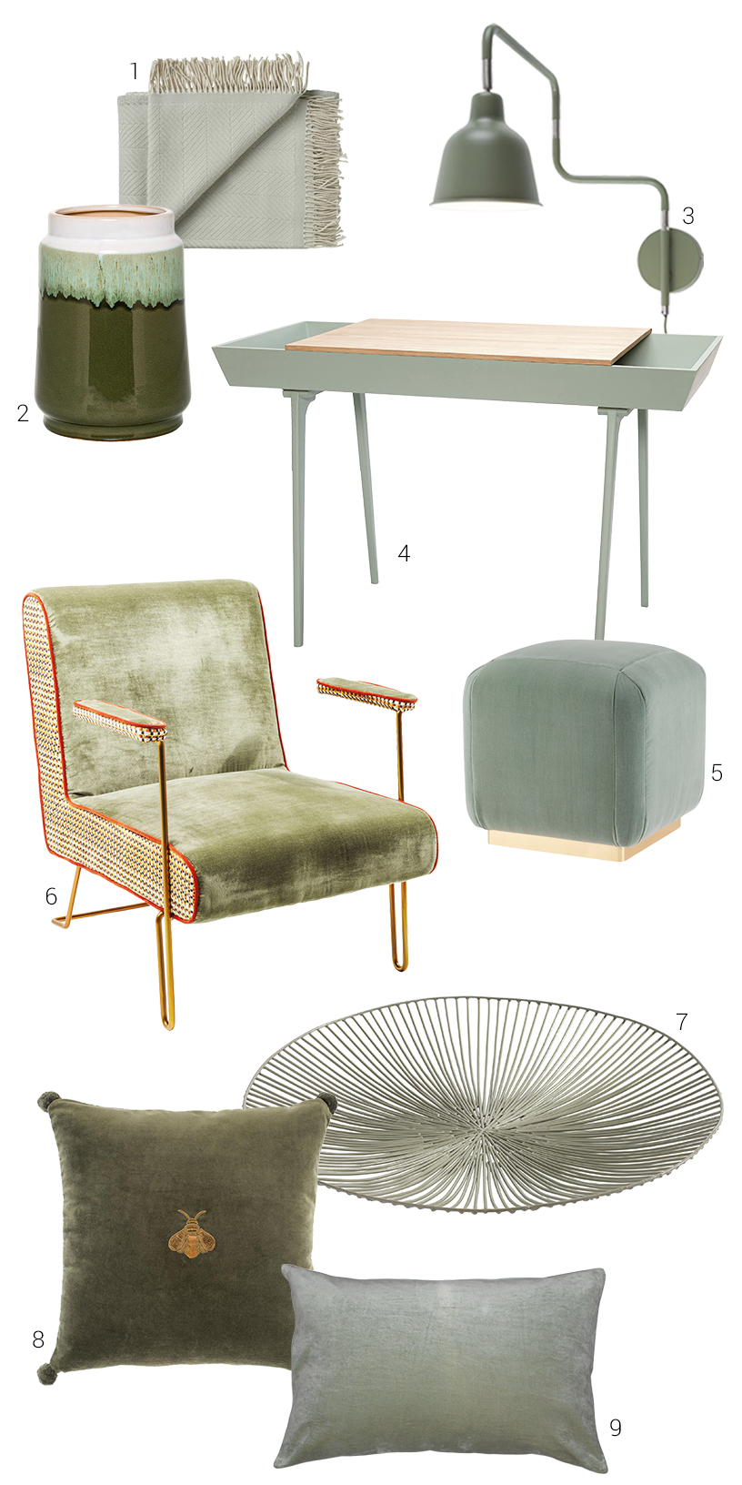 Collage of sage-colored interior design products from the Ambiente fair