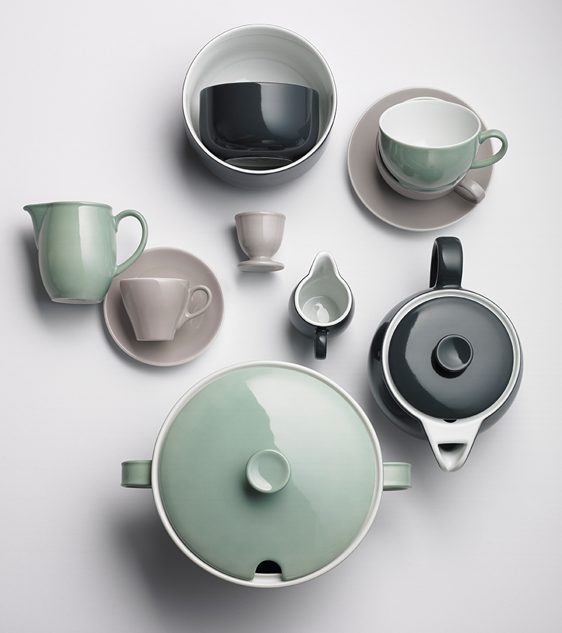 Sage-colored design tableware from Dibbern