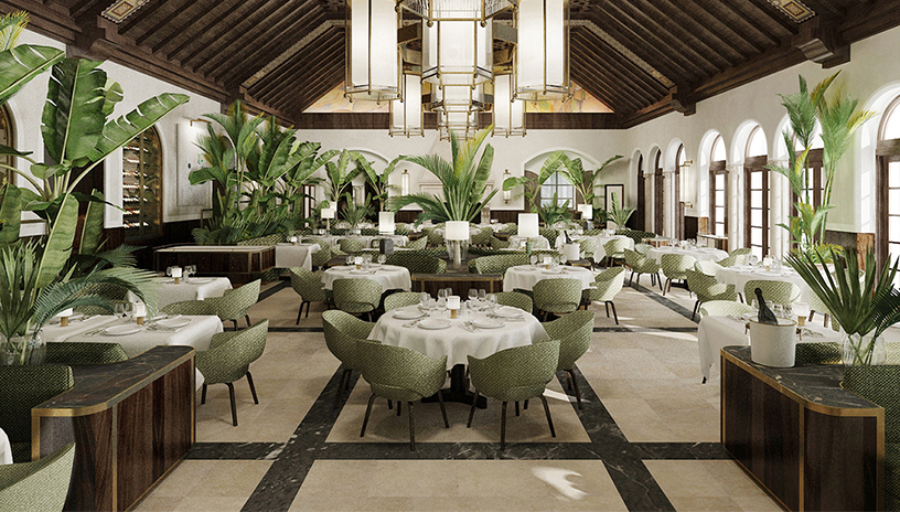 Sage-colored interior of the Four Seasons Surf Club in Miami
