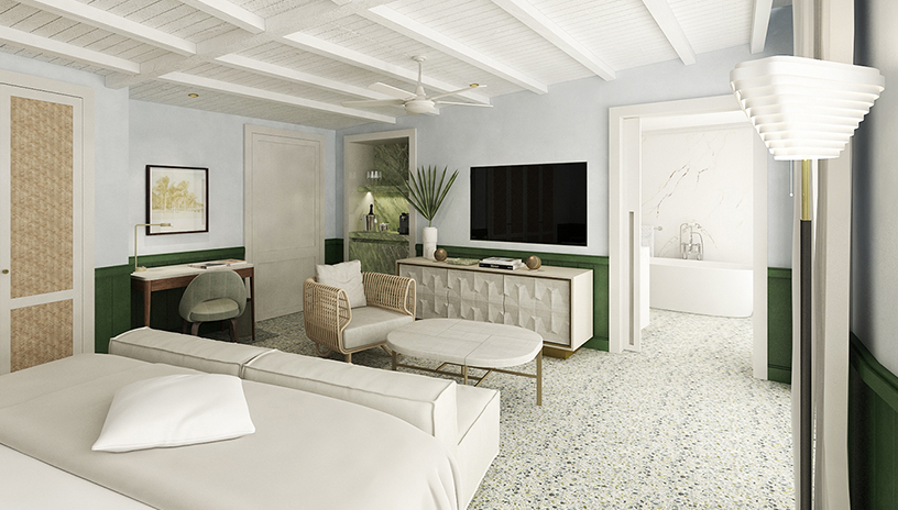 Sage-colored interior design of a bedroom of the Four Seasons Surf Club in Miami