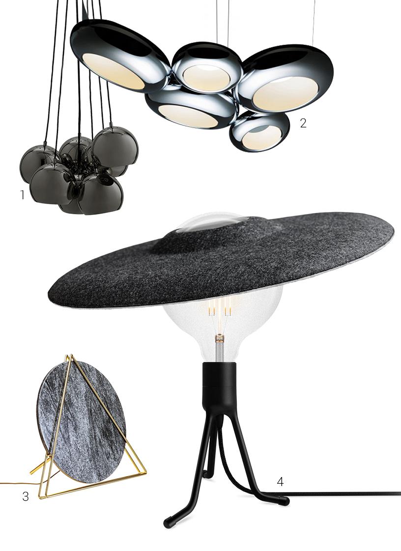 60s marble minimalist glass lamp black from Vita Copenhagen