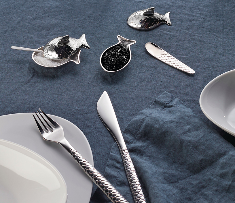 Scale-patterned Colombina Fish design cutlery from Alessi