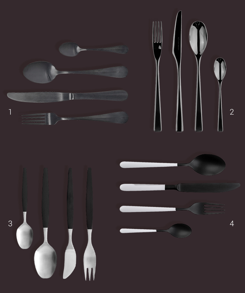 Collage of black design cutlery from the Ambiente fair