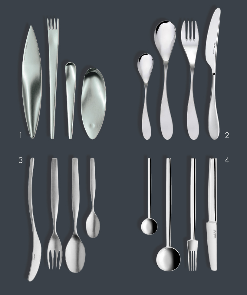 Collage of notably shaped design cutlery from the Ambiente fair