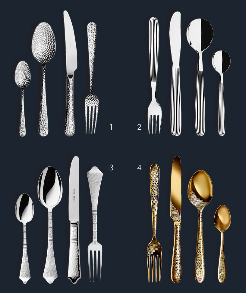 Collage of design cutlery with various engravings from the Ambiente fair