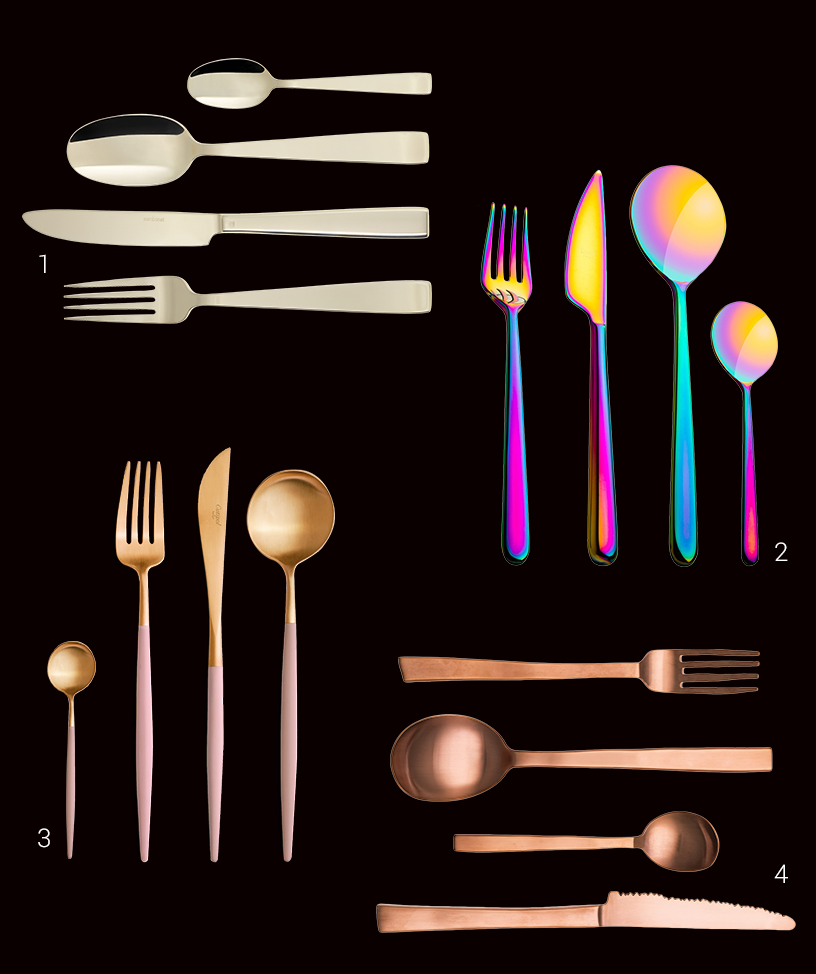 Collage of galvanized design cutlery in different colors from the Ambiente fair