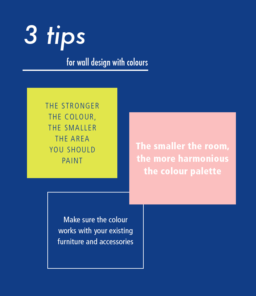 Infografic with 3 tips: The stronger the color, the smaller the area you should paint. The smaller the room, the more harmonious the color palette. Make sure the color works with your existing furniture and accessories.