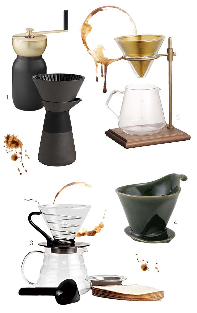 Collage of coffee brewers, filters und various accessories from the Ambiente fair