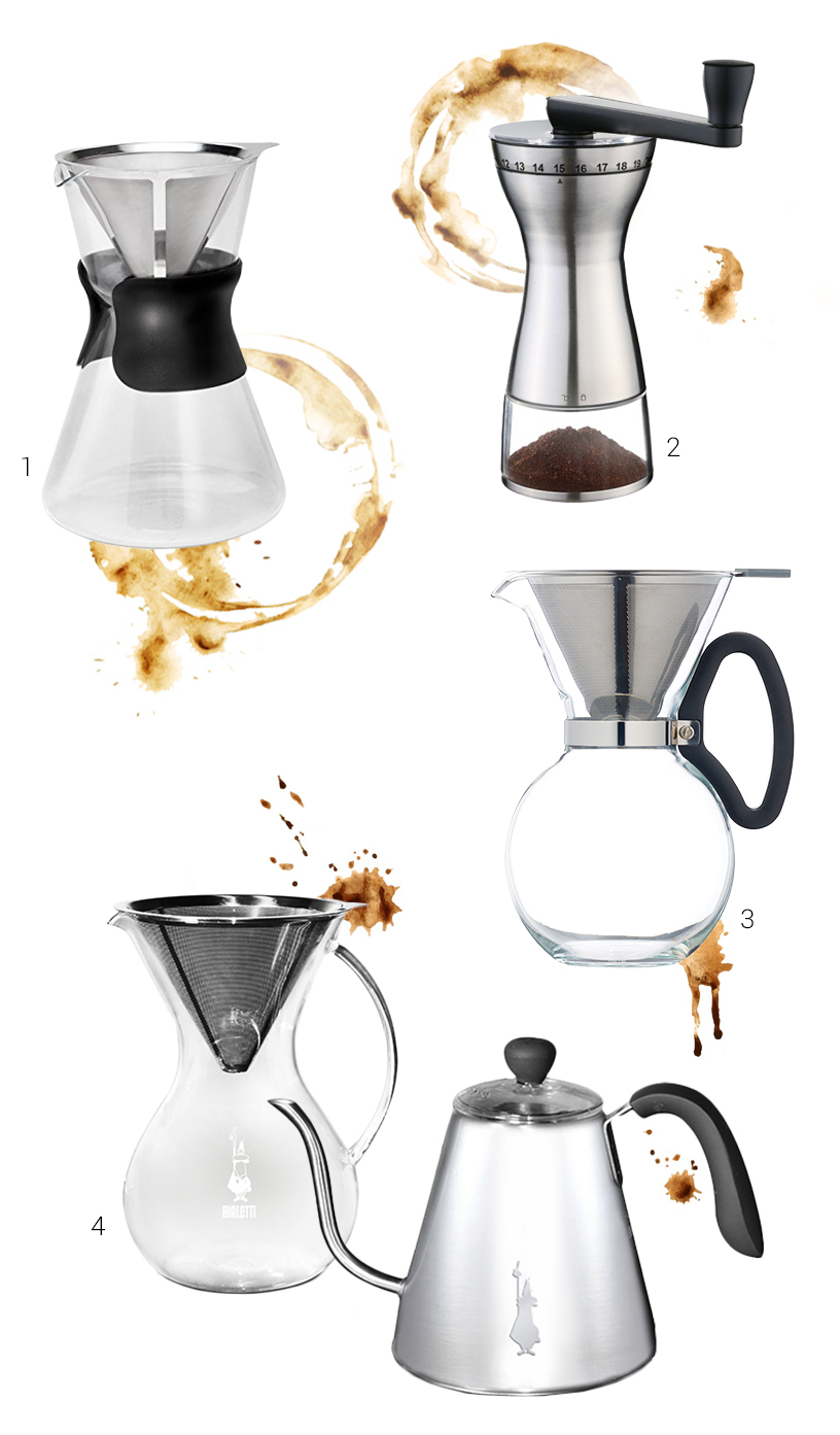Collage of coffee pots and various accessories from the Ambiente fair