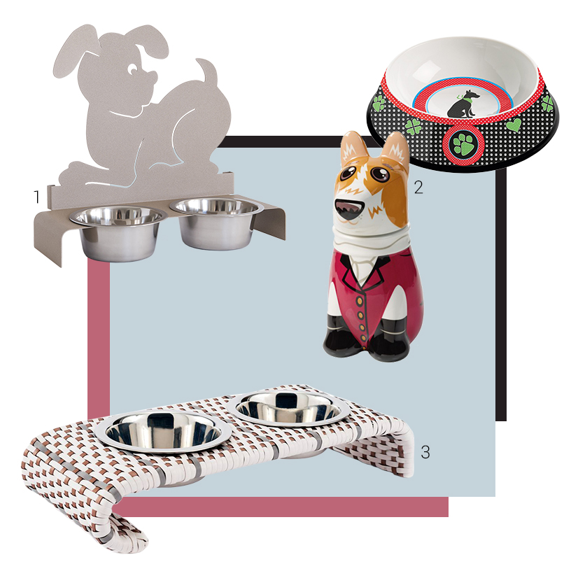 Collage of feeding bowls and pet feeding accessoires from exhibitors of the Ambiente fair