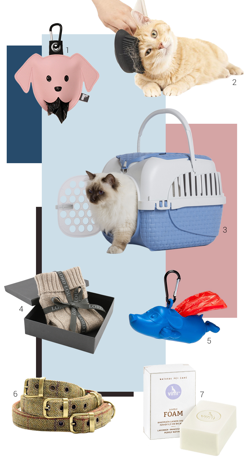 Collage from products related to dog walk, grooming and transportation from exhibitors of the Ambiente fair