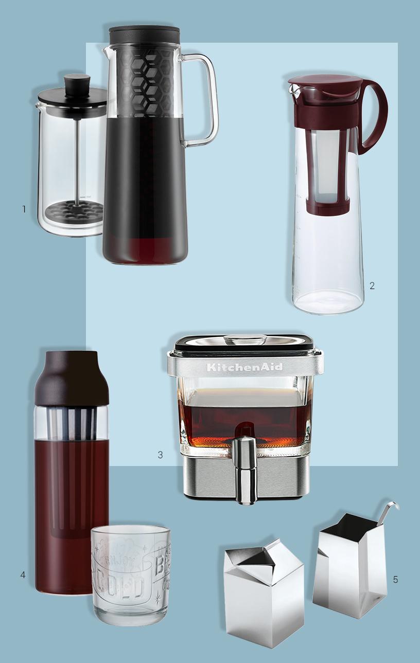 Collage aus Produkten zur Zubereitung von Cold-Brew-Kaffee von Ausstellern der Ambiente Messe