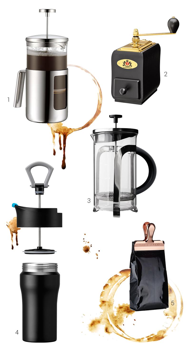 Collage von Produkten von der Ambiente Messe illustriert die Handwerklichkeit der Kaffeezubereitung