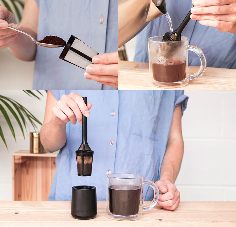 Collage zur Zubereitung eines Kaffes durch Aufgießen mithilfe des Barista&Co Brew It Sticks