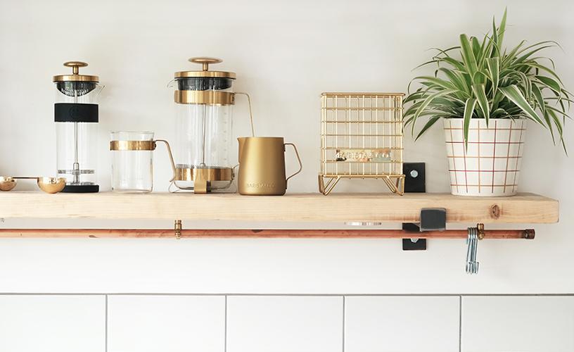 Copper-colored coffee accessory set from Barista & Co.