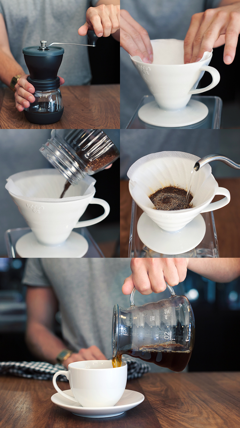 "The storyboard-style collage from the Yuppiechef blog demonstrates the ""pour-over"" coffee preparation method"