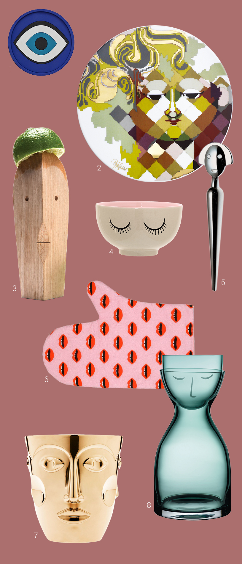 Collaged kitchenproducts that are colourful designed with face-motives made of various materials from exhibitors of the Ambiente fair