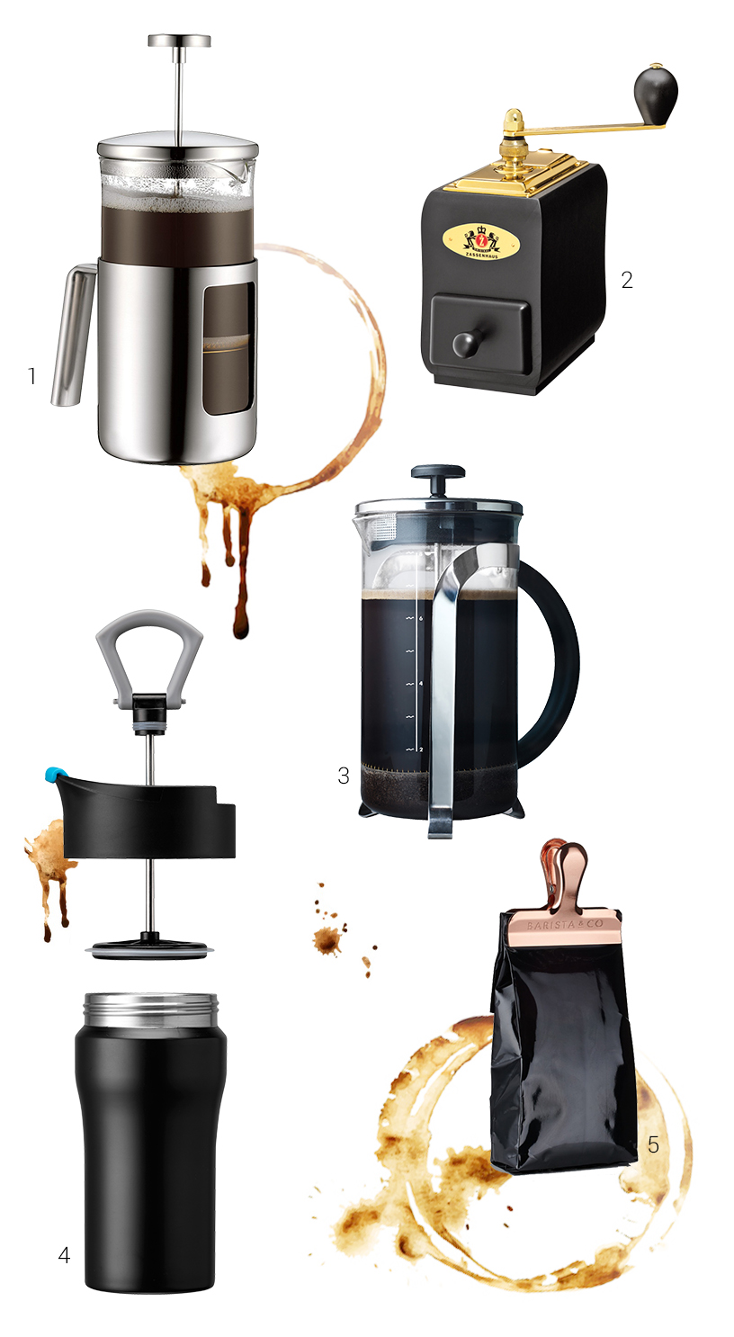 Collage of products from the Ambiente fair is illustrating the artisanship of coffee preparation