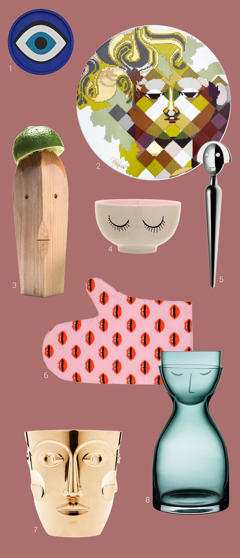 Küchenprodukte mit bunten Augen- und Gesichterdesigns aus verschiedensten Materialien zusammengestellt in einer Collage von Ausstellern der Ambiente Messe