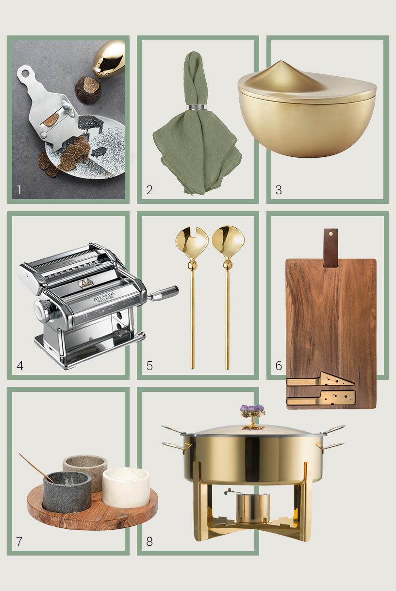 Collage aus hochwertigen Produkten von Ausstellern der Ambiente Messe zur Bewirtung von Gästen