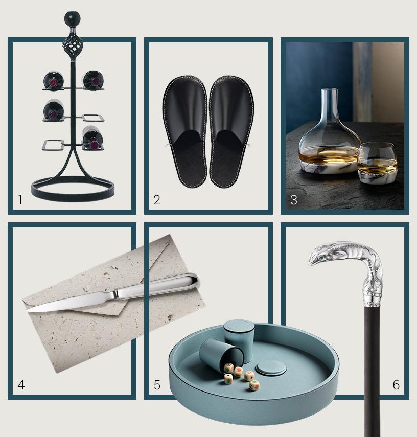 Collage aus Geschenkideen von Ausstellern der Ambiente Messe für Gentlemen, die einen klassichen Vintage-Stil bevorzugen