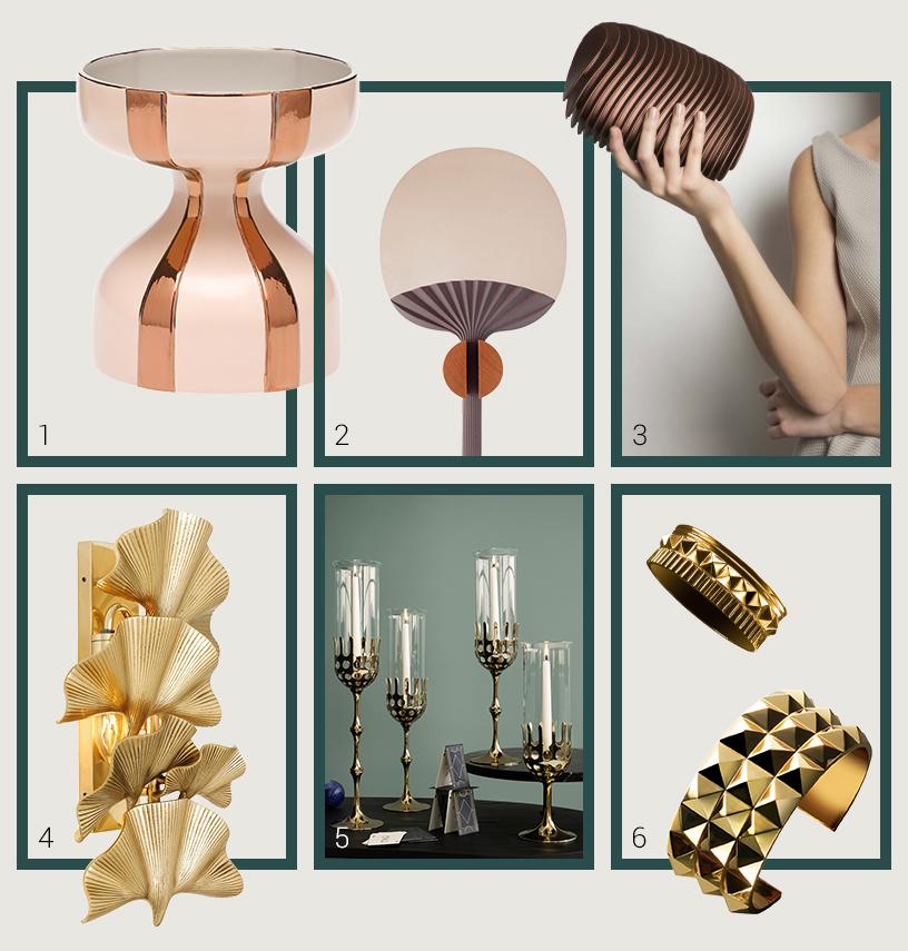 Accessoires und Interior-Dekorationen als Ideen für Weihnachtsgeschenke im extravaganten Metallic-Look zusammengestellt in einer Collage von Ausstellern der Ambiente Messe