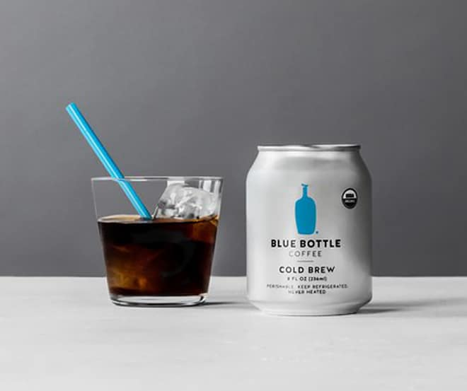 The new trend product Blue Bottle Cold-Brew coffee, presented in a glass with ice
