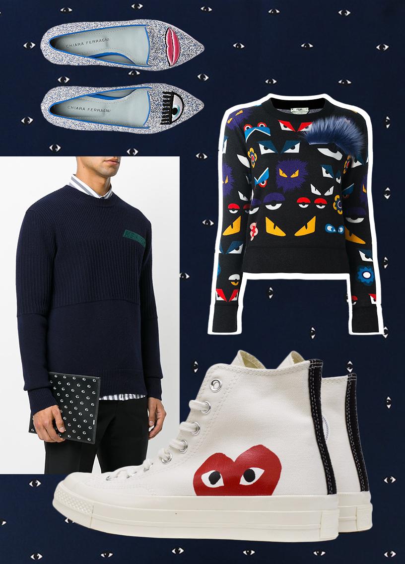 Fashion accessories with eyemotives und face-prints inspired by the comic superhero designs als Collage von Chiara Ferragni, Comme des Garçons, Fendi und Kenzo.
