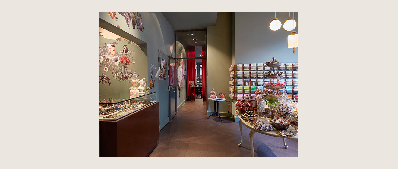 The interior of the chocolaterie at Bitter & Zart is full of colouful chocolate specialties