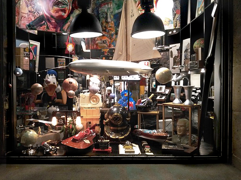 Shopwindow from Last Century Modern in the new old town frankfurt is full of art and collectibles