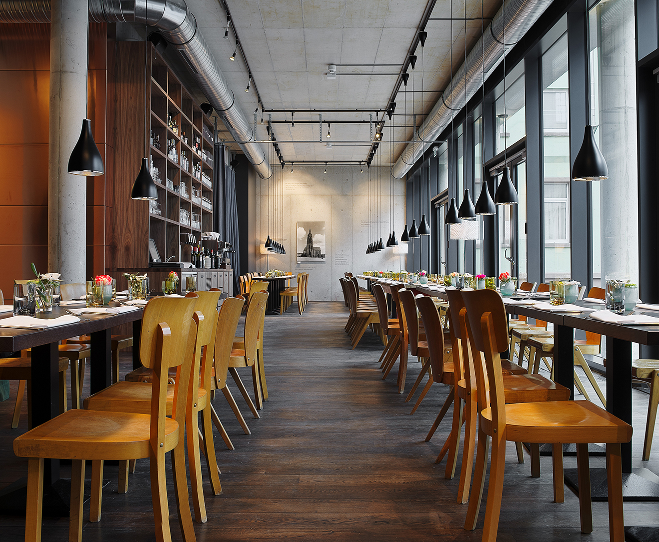 modern and bright restaurant area of Margarete in the new old town Frankfurt