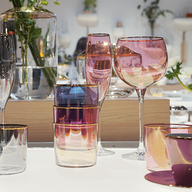 Colored glasses from LSA International at Ambiente 2018