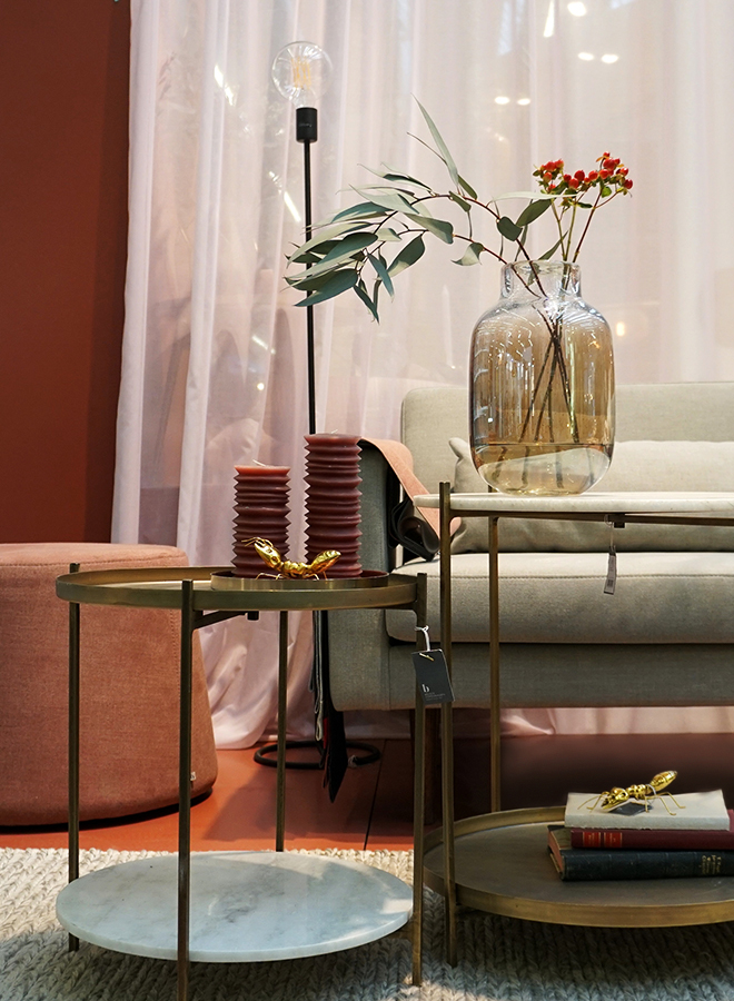 Sofa, side tables and interior accessories from Broste Copenhagen at Ambiente 2018