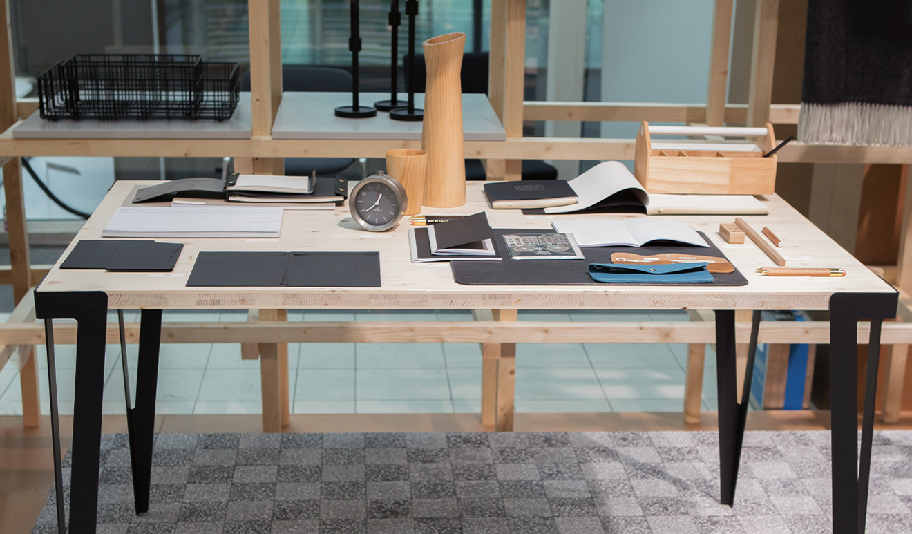 Desk and stationery at the trend presentation Modest Regenerations at Ambiente 2018