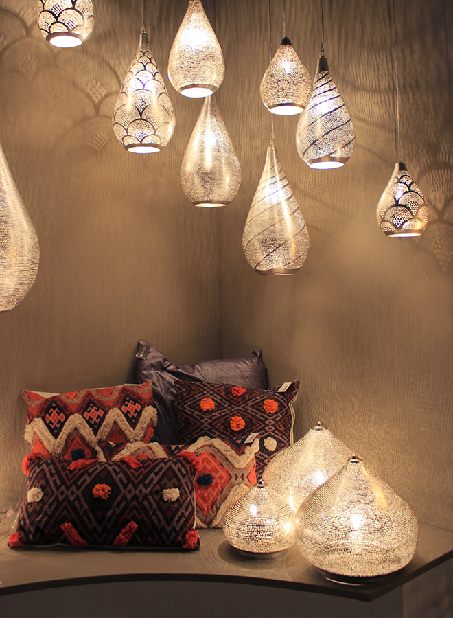 Lamps and pillows from Zenza at Ambiente 2018