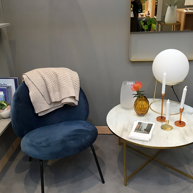 Chair, side table and interior accessories from Hübsch at Ambiente 2018