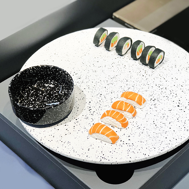 Plate and bowl in terrazzo optics from Doiy Design at Ambiente 2018