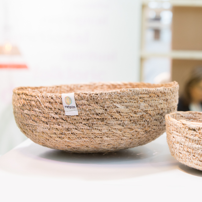 Jute bowls from Green Pioneer at the trend presentation Colourful Intentions at Ambiente 2018