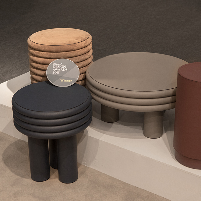 Stools and coffee table from Stephane Parmentier for Giobagnara at Ambiente 2018