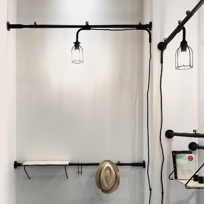 Stange und Accessoires, Lampen und Ablage von Heian Shindo auf der Ambiente 2018