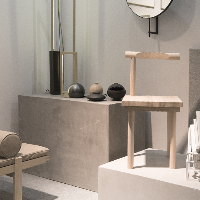 Chair, Mirror, vase and accessories from Kristina Dam at Ambiente 2018