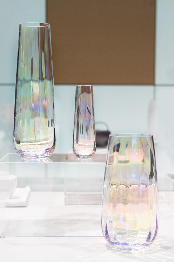 Glass vases from LSA International at the trend presentation Technological Emotions at Ambiente 2018